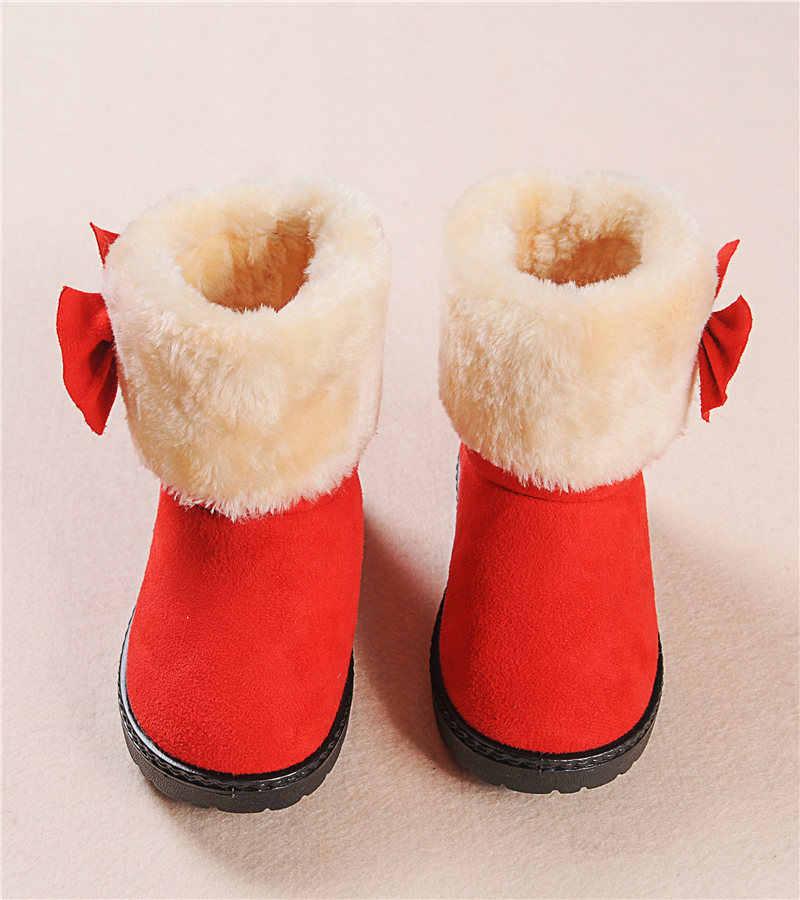 Boog Meisjes Laarzen Bont Dikke Warme kinderen Schoenen 2018 Nieuwe Schoenen Voor Meisjes Top Kwaliteit Baby Katoen Laarzen Kids snowboots Winter