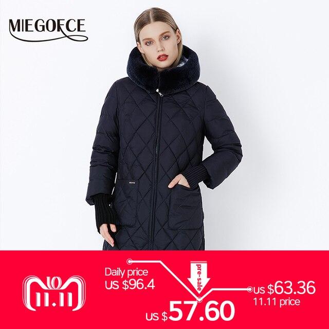 Новая коллеция от дизайнеров MIEGOFCE пуховик зимний женский настоящий меховой воротник женская парка пальто для женщин хлопок модный брэнд женских пуховиков стильная модель 2018