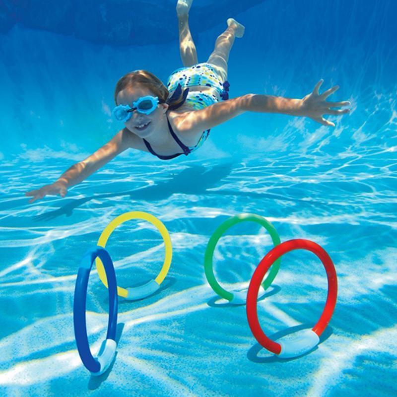 4x Schwimmen Schwimmbad Zubehör Kinder Spielen Tauchen Spiel Tauchen Ringe