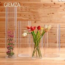 GIEMZA прозрачная акриловая ваза S/M/L без высоких акриловых цветочных вазы Круглый акриловый кислотный куб цилиндрический сосуд пол Свадебные реквизиты декоративные