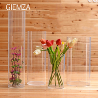 GIEMZA Clear Acrylic Vase S/M/L No Tall Acrylic Flower Vases Round Acrylic Acid Cube Jar Cylinder Floor Wedding Props Decorative