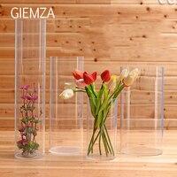 GIEMZA Clear Acrylic Vase S/M/L No Tall Acrylic Flower Vases Round Acrylic Acid Cube Jar Cylinder Floor Wedding Props Decorative
