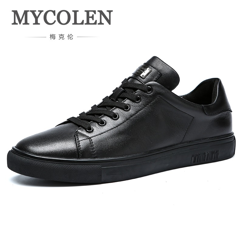 MYCOLEN 2018 Fashion Brand Leisure Shoes Men Sneaker Black Shoe Soft Breathable Youth Good Quality Genuine Leather Men Shoes s c cotton brand backpack men good quality genuine leather