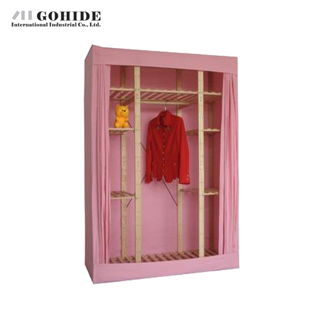 Gohide Pine Home Cloth Wardrobe Solid Wood Wardrobe Storage Home Furnishing  Decoration Non Woven Fabric