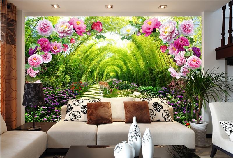 Купить с кэшбэком Interior Decoration Self-definition Size 3d Garden Green Lined Flower Door Wall Wall Painting Wallpaper