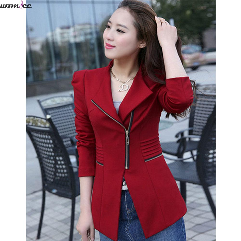 2017 New blazers women suit blazer brand Autumn jacket Fashion zip full sleeve solid Red long