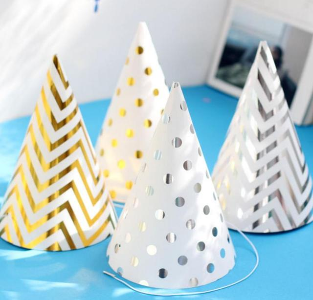 Happy Birthday Funny Party Cone Hat New Years Caps Celebration Decor Gold Silver Stripe Elastic Neck