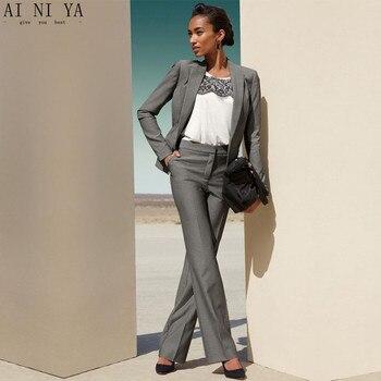 Gray OL Formal Office Uniform Designs Women Business Suits Slim Fit Female Trouser Suit Ladies Elegant Pant Suits 2 Piece Suits