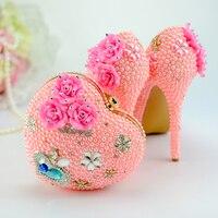 Женская обувь розовый цвет жемчуг со стразами Туфли лодочки Для женщин сладкий роскошный Туфли на платформе и танкетке Свадебные 14 см на вы