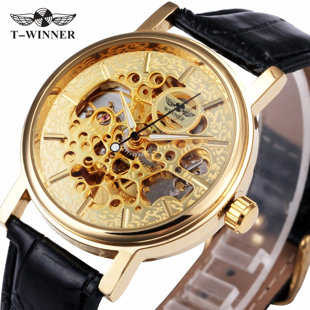 Top Brand WINNER Luxury Women Automatic Mechanical Watches Genuine Leather Strap Ladies Skeleton Wristwatches Luminous Hands 2016 winner watches women lady luxury brand skeleton automatic mechanical wristwatches artificial leather band relogio feminino