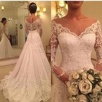 wuzhiyi vestido de noiva Boat neck wedding dresses 2018 lace applique wedding gown Zipper back with buttons gowns robe de soiree
