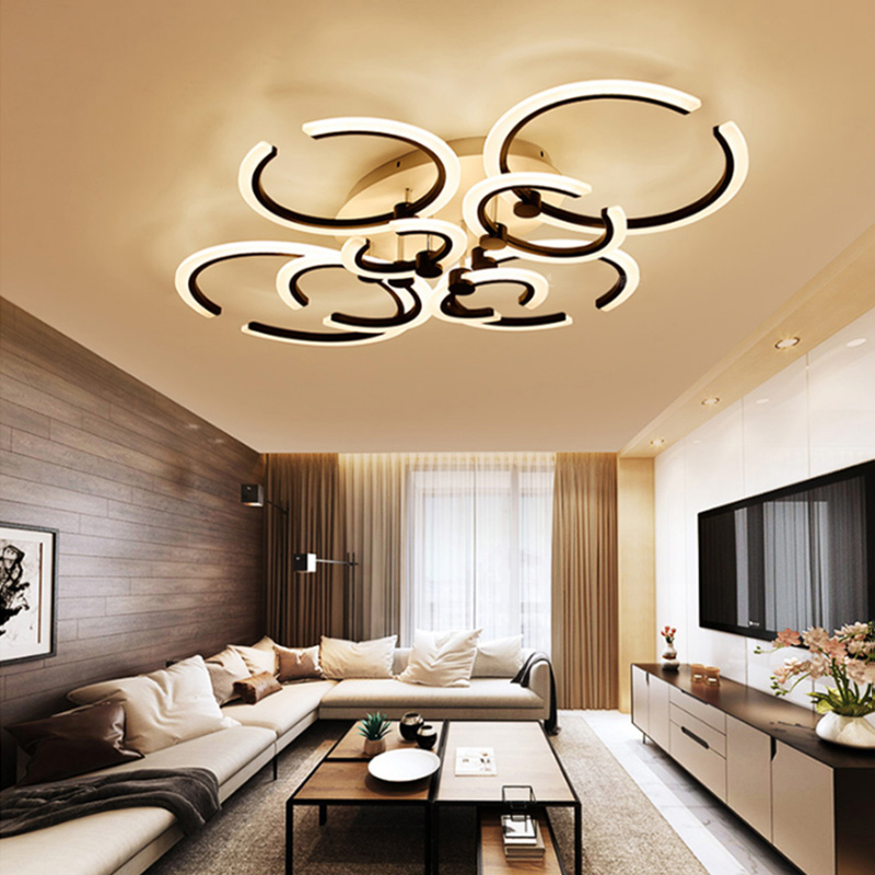 Surface mounted modern led ceiling chandelier lights for living room bedroom White black Color chandelier Acrylice lampshade noosion modern led ceiling lamp for bedroom room black and white color with crystal plafon techo iluminacion lustre de plafond