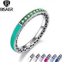 BISAER 925 Sterling Silver Radiant Hearts Bright Mint Enamel Royal Green Crystals Women Ring Silver Jewelry
