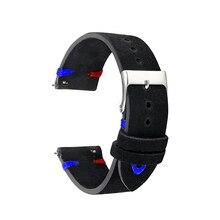 Watch Strap Band Genuine Suede Leather 18mm 20mm 22mm Watchbands Black Men Women Watch Strap Belts Handmade Accessories KZSD03 цены