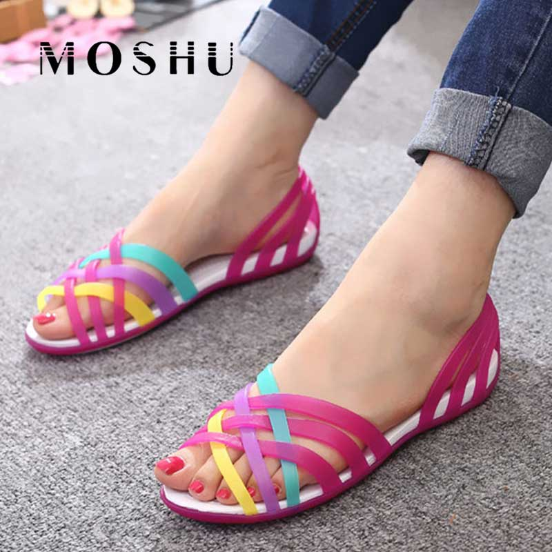 Women Sandals Jelly-Shoes Rainbow-Flats-Sandalias Slides Candy Peep-Toe Summer Ladies