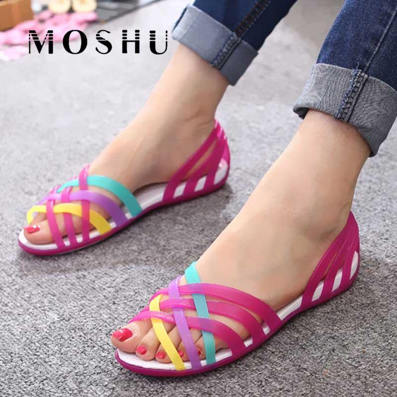 Frauen Sandalen Gelee Schuhe Peep Toe Sommer Strand Schuhe Zapatos De Mujer Damen Rutschen Candy Regenbogen Wohnungen Alias Mujer 2019
