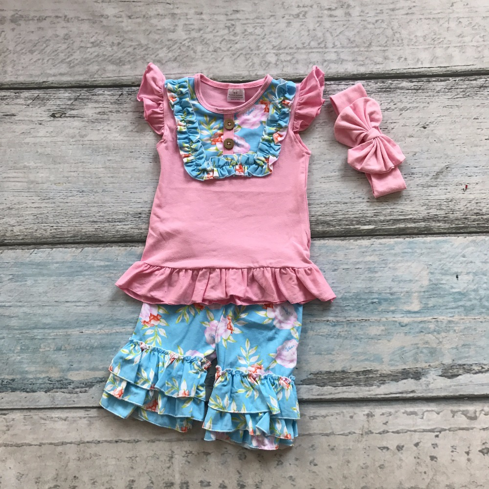 hot sell baby girls cotton summer outfits pink short sleeve children floral outfits kids ruffles shorts with matching headband 2016 summer baby child girls outfits ruffles shorts white striped watermelon boutique ruffles clothes kids matching headband set