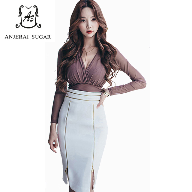 Spring 2 piece women suits Sexy slim brown V-Neck crop tops and white zipper design high-waisted club Package hip Bodycon skirt