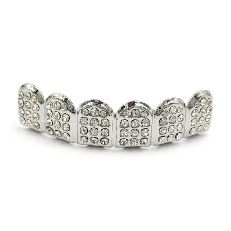 New Fshion Hip Hop Gold Silver Colour Iced Out CZ Teeth Grillz Top Bottom  Men Women Jewelry 5