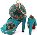 Teal Color Women Shoe and Bag To Match for Parties African Wedding Shoe and Bag Sets Decorated with Rhinestone New Arrival Shoes