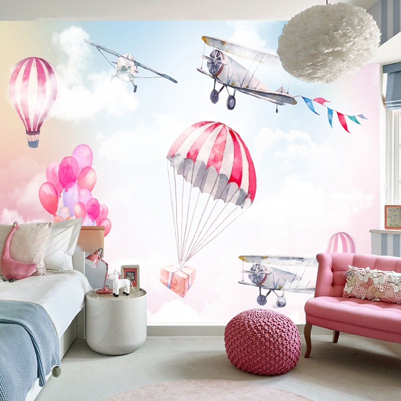 Mural wallpapers kidslike hot air balloon and airplane on the wall in kidsroom decor children's room wallpaper free shipping the flying beaver brothers and the hot air baboons