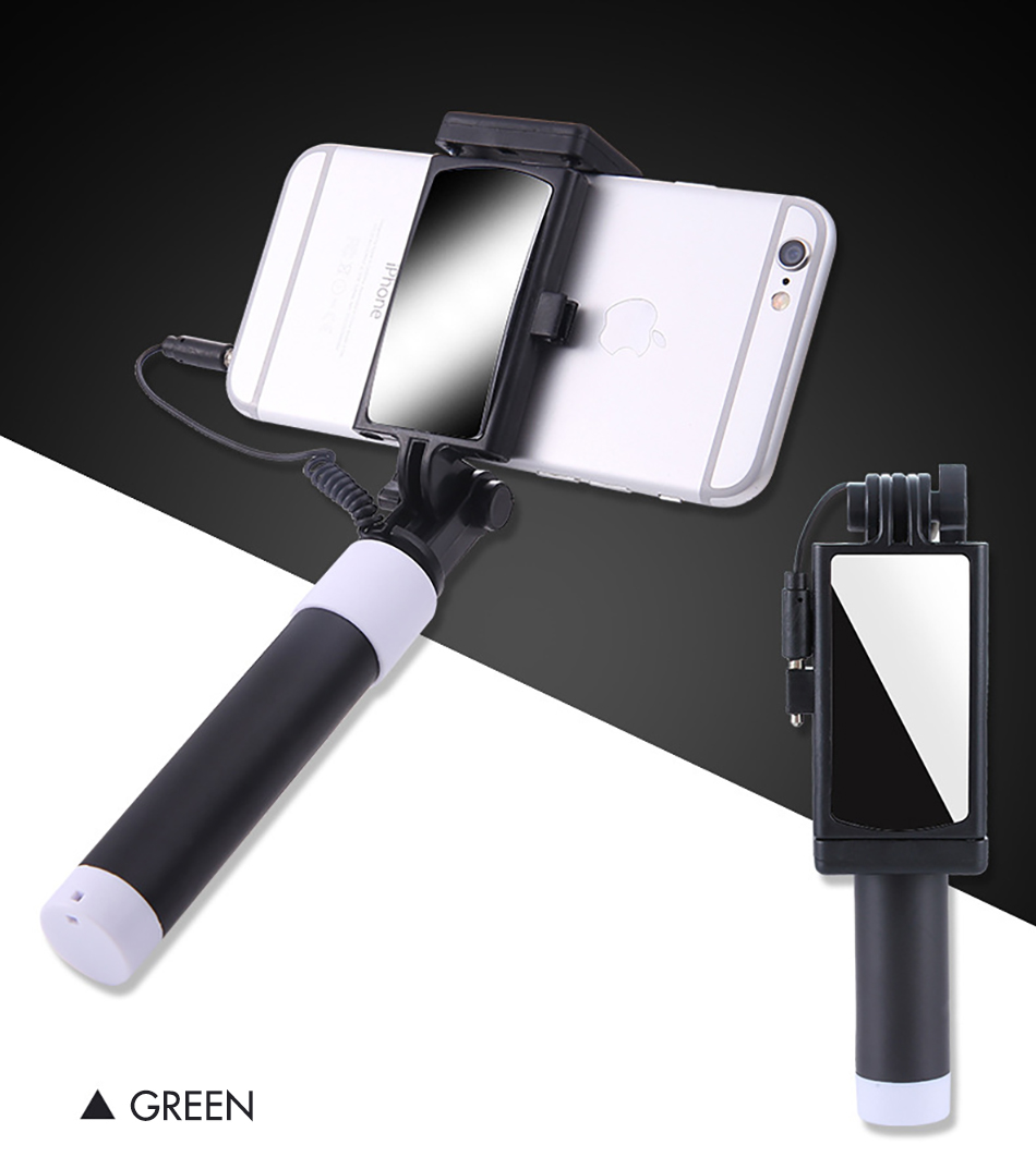 !ACCEZZ Mini Wired Selfie Stick IOS For iPhone X XR XS MAX 8 7 6 For Huawei Samsung Monopod Foldable Portable Selfiestick Mirror (16)