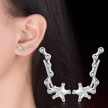 цена на Big Dipper Zodiac Pentagram Stud Earrings Silver Color Ear Hook Stud Earrings  For Women Fashion Jewelry