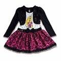 SK, 2-10 T de Las Muchachas Resorte de la Ropa de Punto Negro, Vestido de la Princesa Niña Vestidos, Niños de La Manera ropa, Cabritos Vestido de Cóctel