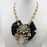 New Women Maxi Design Gold Plated Chunky Chain Crystal Flower Necklace Long Choker Bib Collar Lady