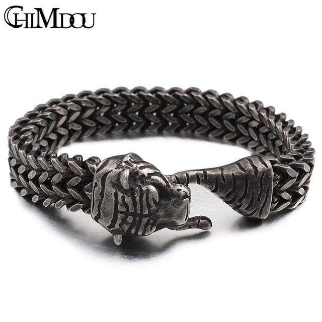 Chimdou Punk Rock 316l Stainless Steel Mens Chain Link Bracelets Tiger Head Turkish Men Jewelry