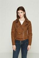 women short coat faux leather jacket zipper pockets motorcyle jackets slim fit S XL drop shipping coffee gray long sleeve