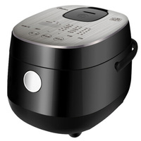2L Black Square Electric Rice Cooker Home Mini Smart Reservation Rice Cooking Pot with Cauldron Liner Touch Control 350W