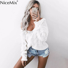 NiceMix 2016 Autumn Winter Casual Pullover Sweater Women Tops Sexy Deep V-Neck Hollow Out White Long Sleeve Knitted Sweaters autumn winter women pullover sweater sexy deep v neck black color sweater dresses hollow lace up short knitted dress for ladies