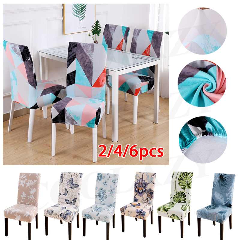 1/2/4/6PCS Flower Printed Geometric Kitchen Chair Covers Spandex Elastic Stretch Decoration Chair Dining Seat Cushion Anti-dirty