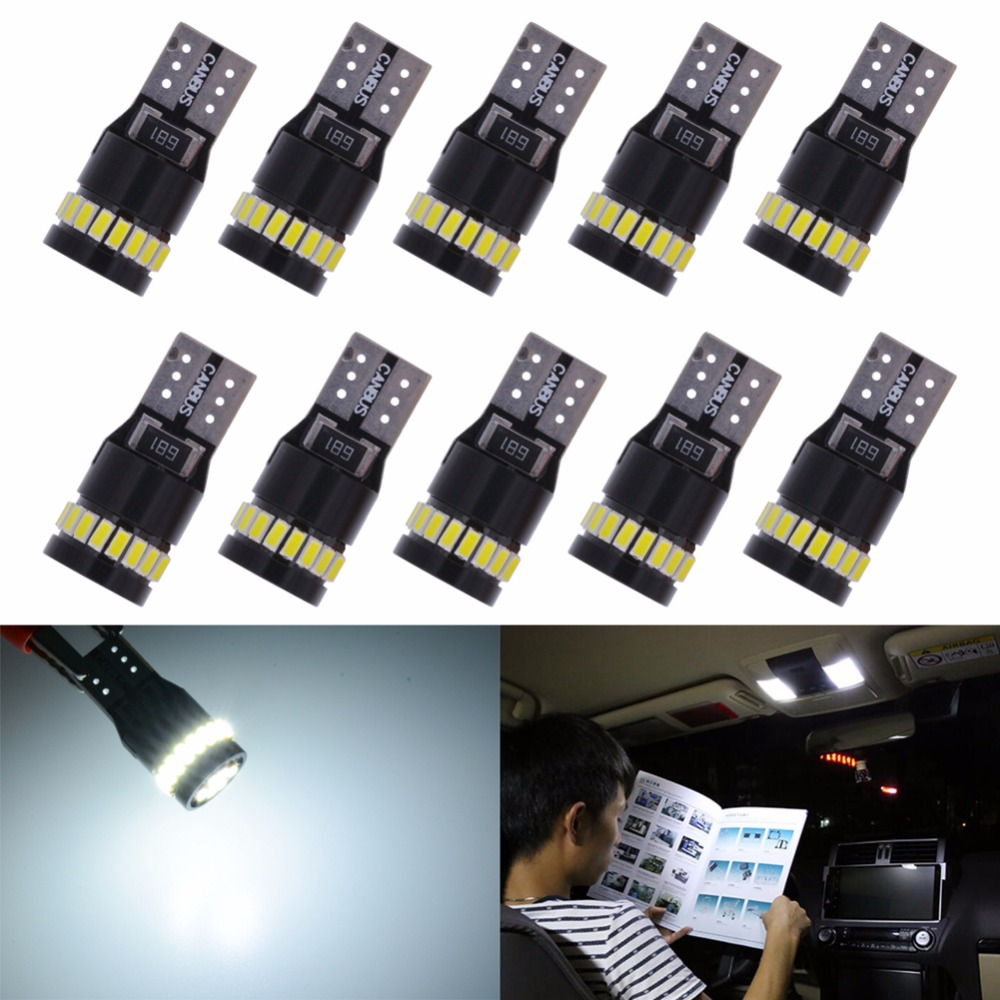 10PCS t10 led light white car led light Can-bus Wedge Light Side Bulb T10 W5W Canbus led 6000K 194 3014 24 SMD Led Error Free