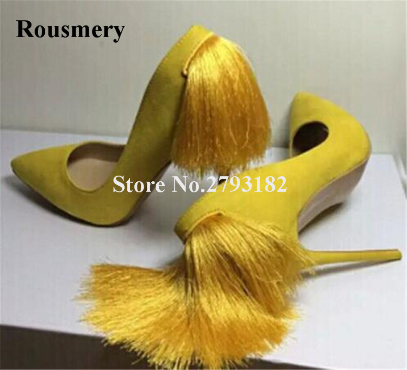 Women Charming Suede Leather Pointed Toe Back Tassels Pumps Pink Yellow Purple Fringes High Heels Formal Dress Shoes charming high waist yellow lace dress for women