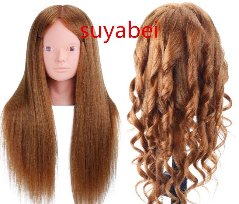 Environ 60 CM longueur de cheveux 85% tête de mannequin de cheveux naturels tête de mannequin de pratique