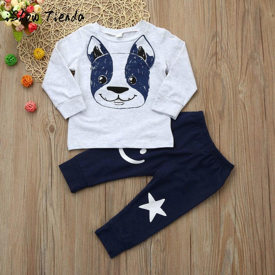 Winter 2Pz suit Toddler infant Baby Boys Girls Cartoon long sleeve Dog Ears Top Pants Outfit Set Clothes O-Collar cotton costume