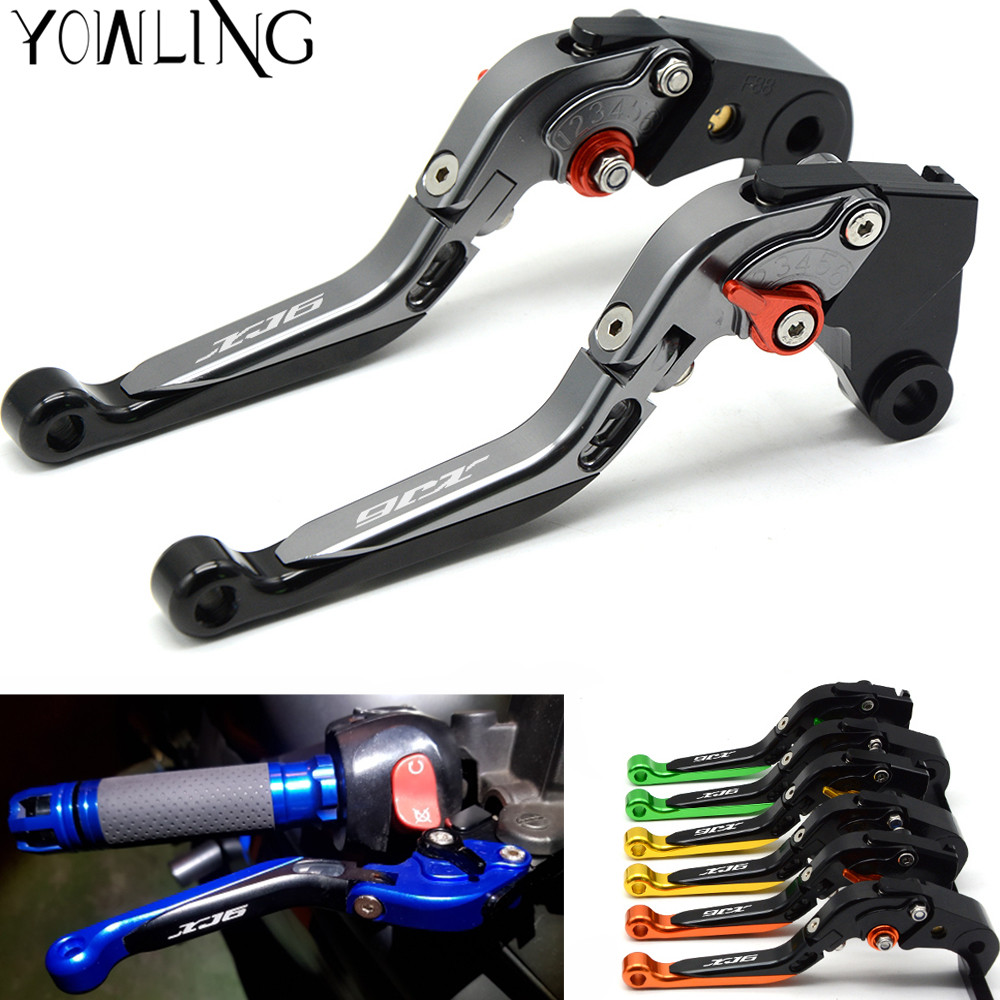 Logo XJ6 Motorcycle Accessories Folding Extendable CNC Brake Clutch Levers For YAMAHA XJ6 DIVERSION 2009-2015 10 11 12 13 14 15 for gilera gp 800 2007 2009 motorcycle accessories cnc aluminum folding extendable brake clutch levers black