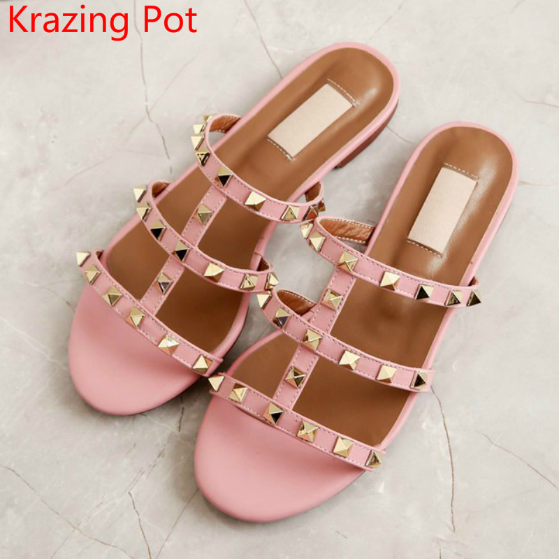 Superstar Genuine Leather Rivets Mules Slingback Peep Toe Sandals Women Slip on Flats Outside Slippers Beach Casual Shoes L89 nap national academy press ecological aspects of development in the humid tropics