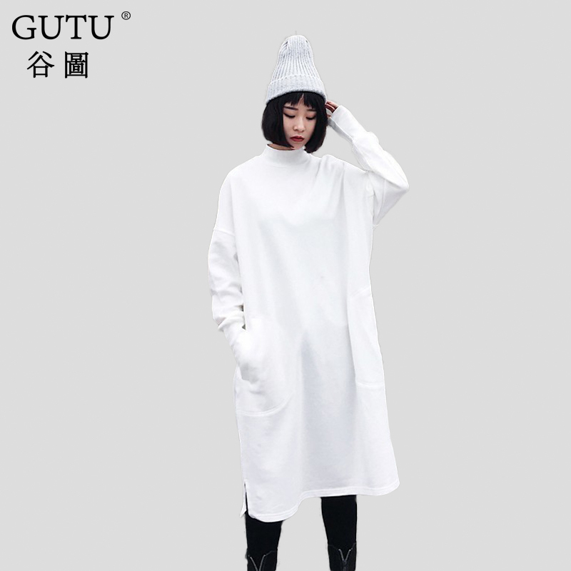 [GUTU] 2018 spring Autumn Black White Stand Collar New Korean Fashion Long Sleeve Loose Big Size Casual Woman Dress FA55901