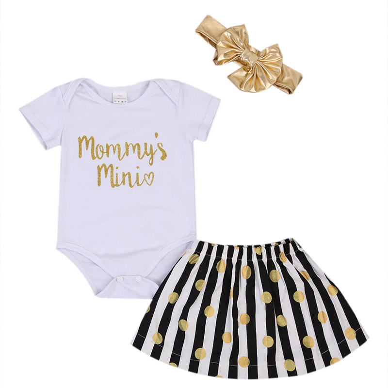 New Casual Newborn Baby Girl Clothes Set Short Sleeve Tops Romper Polka Tutu Dress Striped Skirt Outfits 3Pcs Set Clothes