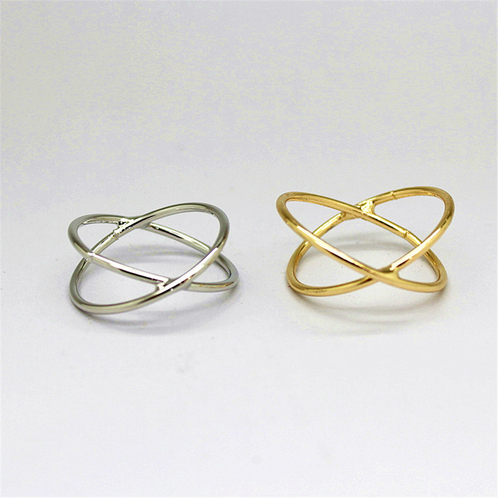 2017 free shipping fashion women New Jewelry wholesale Minimalist staggered two-lane ring