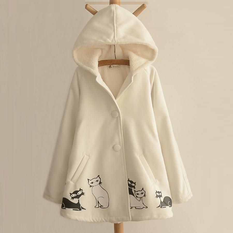 New Autumn Winter Female Plus Velvet College Coat Women Cotton Cashmere Thickening Hooded Woolen Jacket Casual Woolen Overcoat