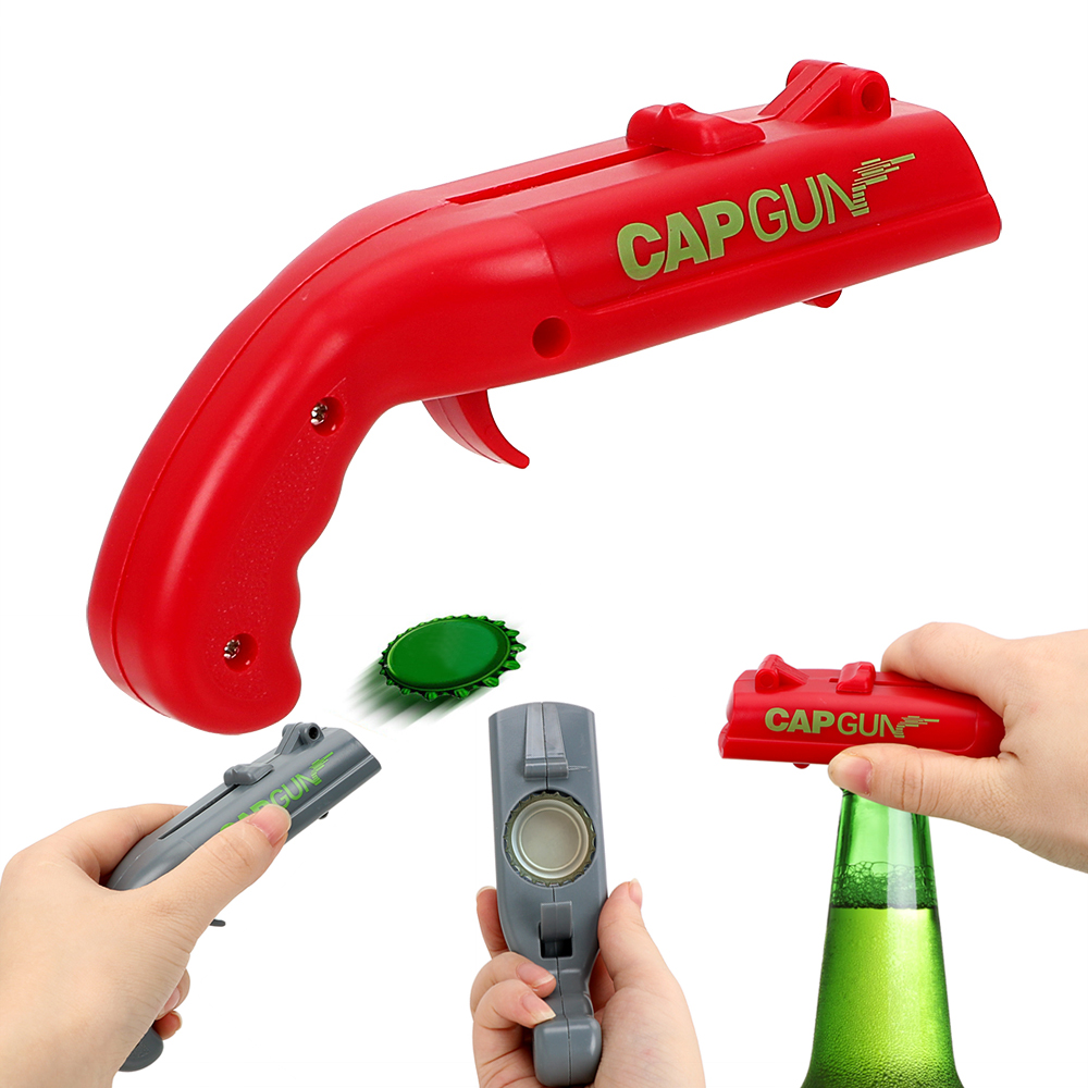Creative Drink Opening Shooter Can Openers Spring Cap Catapult Launcher Gun Shape Beer Bottle Opener Bar Tool