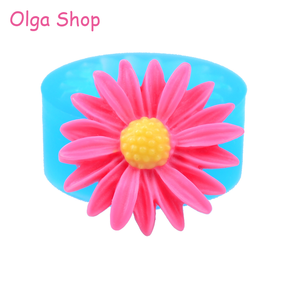 Hyl076 264mm Daisy Flower Mold Cupcake Topper Fondant Craft Gum