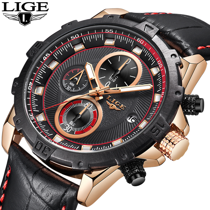 LIGE Men Watches Top Brand Luxury Leather Casual Quartz Watch Men Army Military Sport Quartz-watch Gold Watch Relogio Masculino sinobi men watch s shock military watch for man eagle claw leather strap sport quartz watches top brand luxury relogio masculino