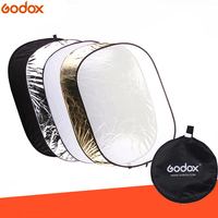 Godox 5 in 1 90*120cm Background Board Round Rectangle Reflector Collapsible Lighting Diffuser Disc Black Silver Gold White