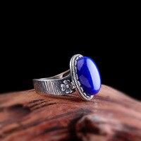Аутентичные Ляпис Кольцо Серебро 925 кольца Для женщин Винтаж обручальные кольца для Для женщин Натуральный камень Регулируемый Fine Jewelry Bague
