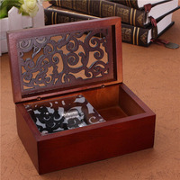 Best Hot Sale Vintage Hollow Out Wind Up Music Box Musical Finished Wooden Open Stylish Pattern